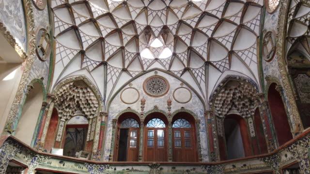 vidéos et rushes de borujerdi historical house, kashan city, kavir desert, iran, western asia, asia, middle east - tour d'azadi