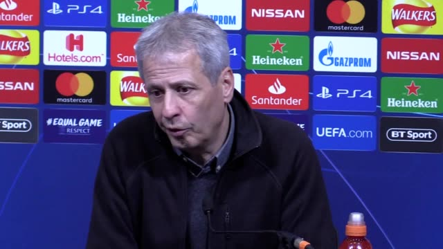 Borussia Dortmund head coach Lucien Favre reacts to his side's 30 defeat to Tottenham in the first leg of their Champions League last16 tie