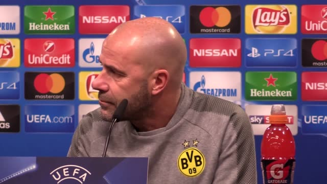 Borussia Dortmund manager Peter Bosz gives a press conference ahead of the team's Champions League game against Tottenham