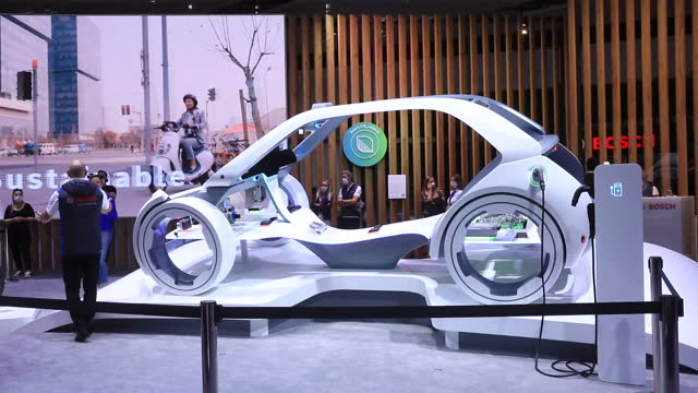 bosch electric car model on display during the 2021 munich motor show iaa mobility in munich, germany on tuesday, september 7, 2021. - futuristic stock videos & royalty-free footage
