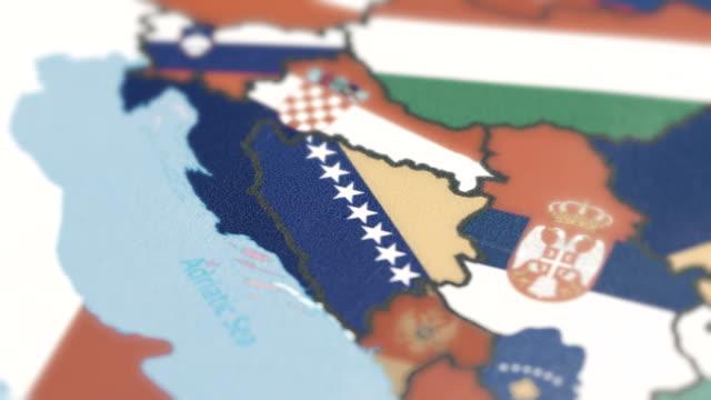 Bosnia and Herzegovina Borders with National Flag on World Map