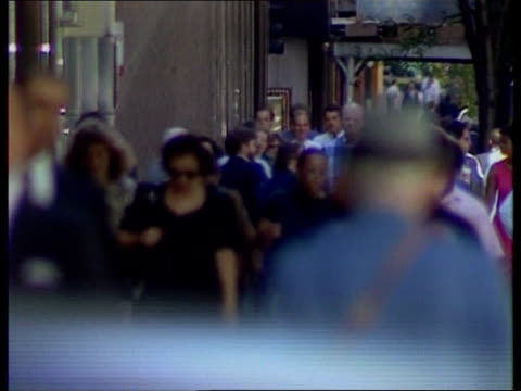 bosnia diplomacy / possible use of force by us; usa: ext various shots of pedestrians along sidewalk - pedestrian stock videos & royalty-free footage