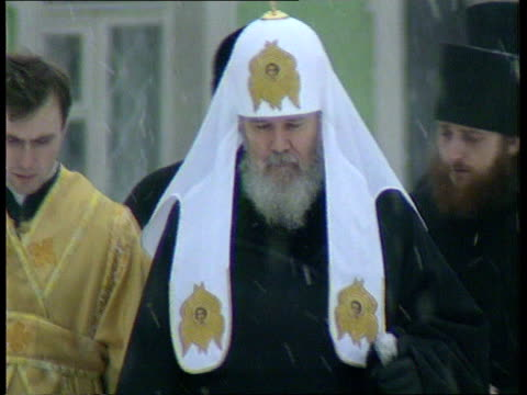 russian diplomacy itn ms patriarch towards with other clergy of russian orthodox church cms ditto towards cms williams i/c sot - diplomacy stock videos and b-roll footage