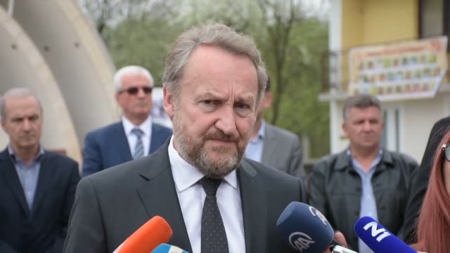 bosniak member of the presidency of bosnia and herzegovina bakir izetbegovic attends a ceremony at the local cemetery to commemorate the victims of... - murder stock videos & royalty-free footage