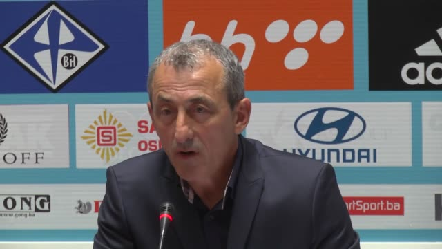 bosnian national football team head coach mehmed bazdarevic announces a 26member squad for bosnia and hezegovina's 2018 fifa world cup qualifying... - world cup qualifying round stock videos and b-roll footage