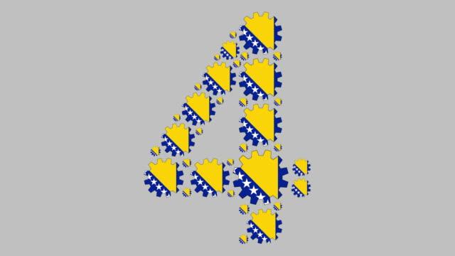 ボスニア・ヘルツェゴビナ語 4位 - 数字の4点の映像素材/bロール