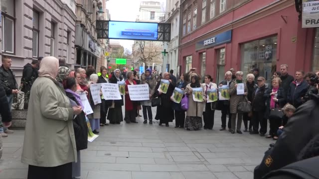 bosnian relatives of the srebrenica victims gather to protest against the 2019 nobel prize winner for literature peter handke in front of swedish... - nobel prize in literature stock videos & royalty-free footage