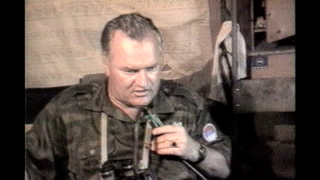 bosnian serb wartime general ratko mladic arrested; mid 1990's: bosnia-herzegovina: int general ratko mladic repeating his name as speaking into... - ratko mladic stock videos & royalty-free footage