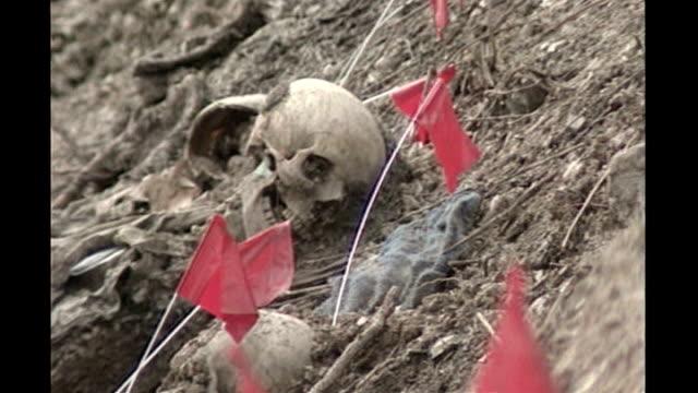 bosnian serb wartime general ratko mladic arrested; t10079618 tx 10.7.1996 bosnia & herzegovina: near srebrenica: skulls and red flags on earth... - ratko mladic stock videos & royalty-free footage