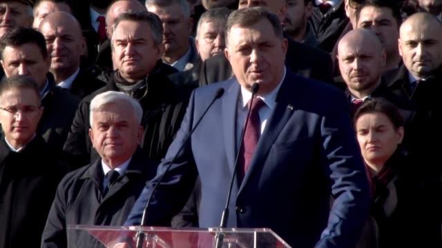 bosnian serbs celebrate the controversial 'statehood day' marking the creation of republika srpska in 1992, in banja luka, bosnia and herzegovina on... - banja luka stock videos & royalty-free footage