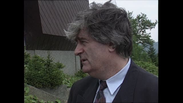 detention camps: radovan karadzic interview; bosnia and herzegovina: bosnian serbs hq: ext cms radovan karadzic interview sof - part 3 of 3 - ラドヴァン カラジッチ点の映像素材/bロール