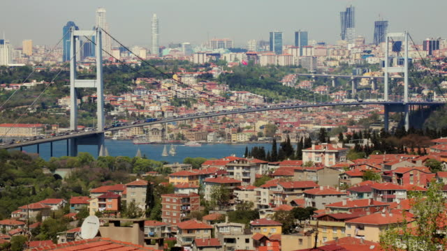 ws ha bosphorus bridge across beylerbeyi, istanbul, turkey - july 15 martyrs' bridge stock videos & royalty-free footage