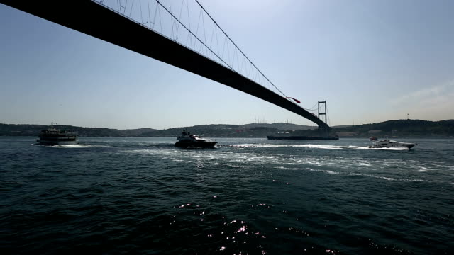 bosphorus bridge - july 15 martyrs' bridge stock videos & royalty-free footage