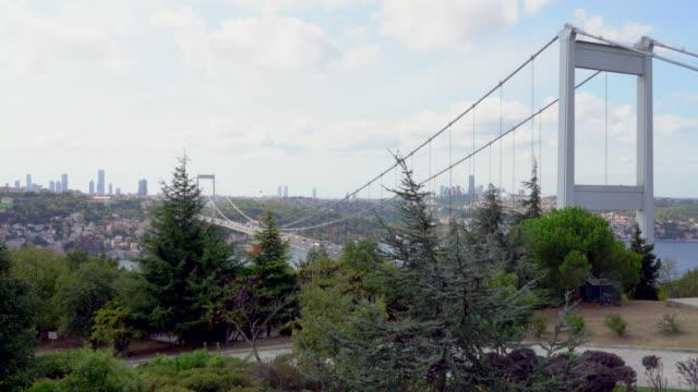stockvideo's en b-roll-footage met bosporus-brug die verbindt van aziatische en europese zijden van istanboel, - 15 juli martelaarsbrug