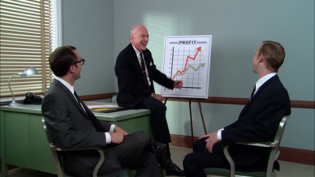 ms boss giving presentation about increased profits to two businessmen/ boss getting excited, putting arms around men and looking at camera/ new york city - geld verdienen stock-videos und b-roll-filmmaterial