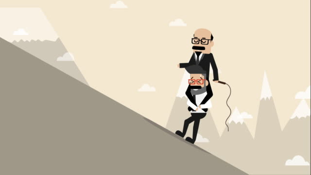 boss sit on businessman to walk to walk up hill (business concept cartoon) - bossy stock videos & royalty-free footage