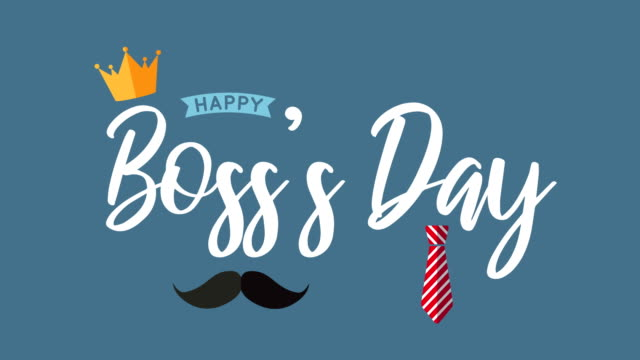 boss's day with crown, mustache and necktie. 4k animation - bossy stock videos & royalty-free footage