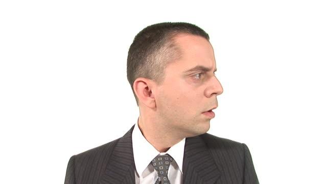 vídeos y material grabado en eventos de stock de hd: mandón ejecutivo - dedo sobre labios
