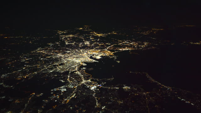 boston aerial view by night - boston massachusetts stock videos & royalty-free footage