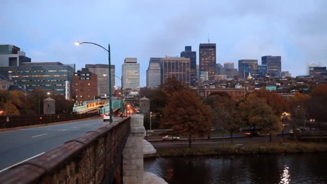 boston autumn view - cambridge massachusetts stock videos & royalty-free footage