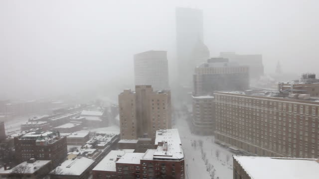 boston blizzard 2015. snowiest winter in boston's history - back bay boston stock videos & royalty-free footage