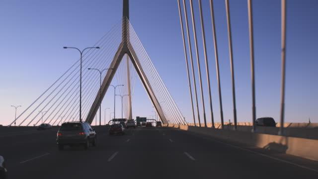 boston bridge driving pov late afternoon - boston massachusetts stock videos and b-roll footage