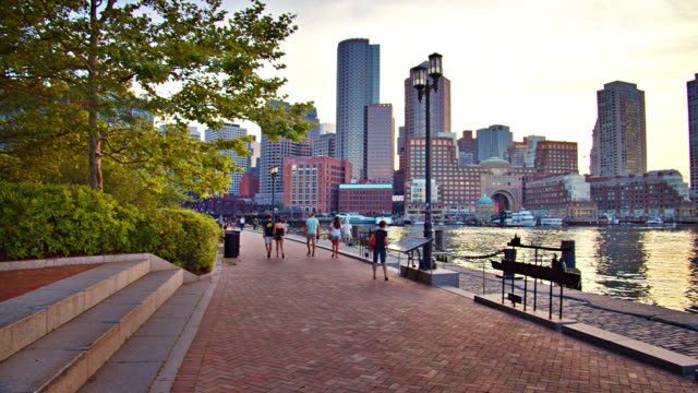 boston business district. riverside - boston massachusetts stock-videos und b-roll-filmmaterial