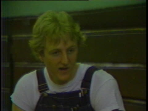 boston celtics basketball star larry bird says he hopes he never changes his attitudes in french lick, indiana. - sport stock videos & royalty-free footage