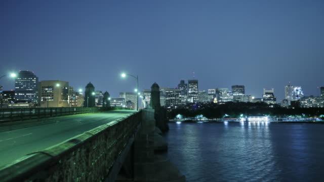 Boston city at night, bridge and river, USA