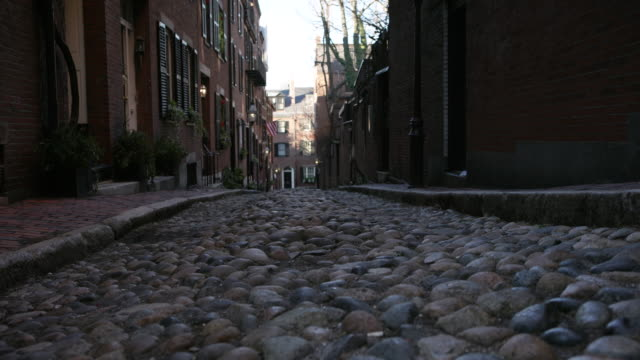 boston cobbled street - cobblestone stock videos & royalty-free footage