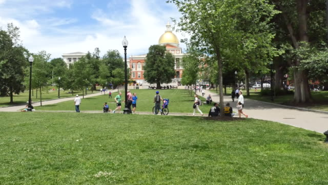 usa boston commons and state house - incidental people stock videos & royalty-free footage