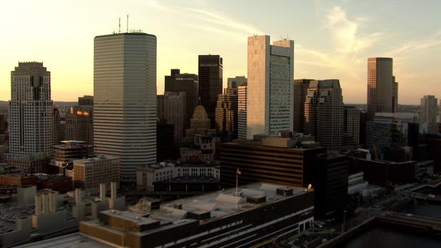 AERIAL, Boston downtown at sunset, Massachusetts, USA