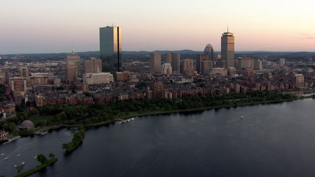 aerial, boston downtown buildings at sunset, massachusetts, usa - back bay boston stock videos & royalty-free footage