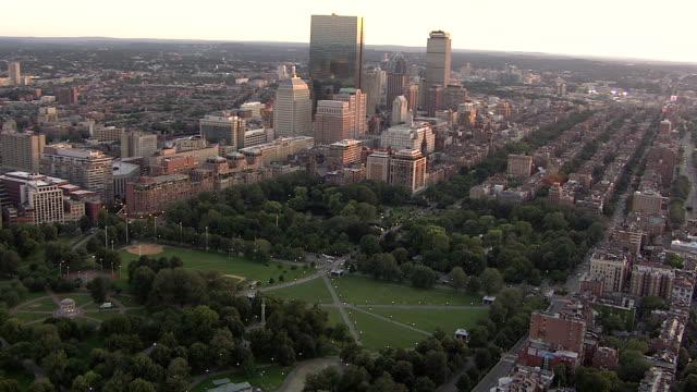aerial, boston downtown buildings, massachusetts, usa - back bay boston stock videos & royalty-free footage