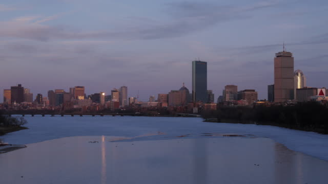 boston downtown tl day to night in winter - river charles stock videos & royalty-free footage