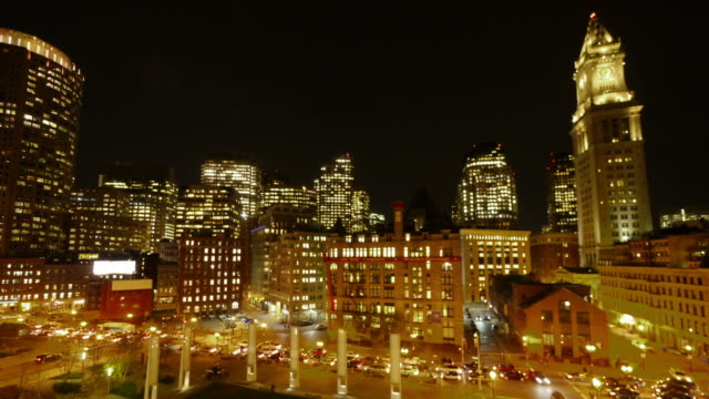 tl boston downtown with costum house tower at night - spoonfilm stock-videos und b-roll-filmmaterial