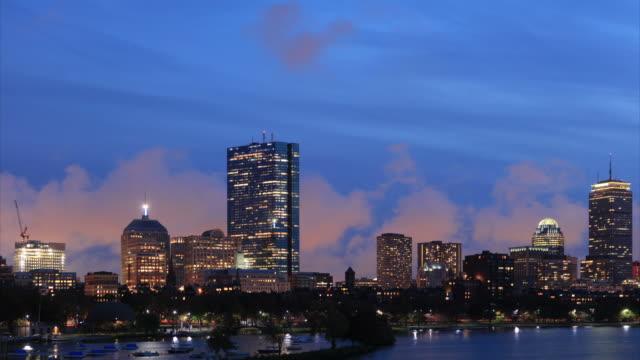 boston dusk to night time lapse - cambridge massachusetts stock videos & royalty-free footage