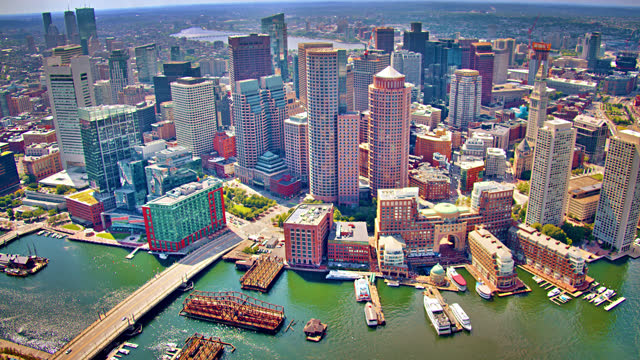 boston financial district. grand view. - boston massachusetts stock videos & royalty-free footage