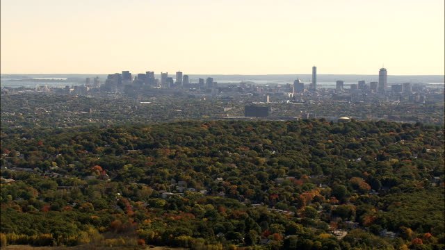 boston from the north  - aerial view - massachusetts,  middlesex county,  united states - distant stock videos and b-roll footage
