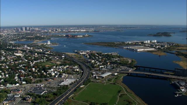 vidéos et rushes de boston à partir du sud - vue aérienne - massachusetts, comté de suffolk, états-unis d'amérique - massachusetts