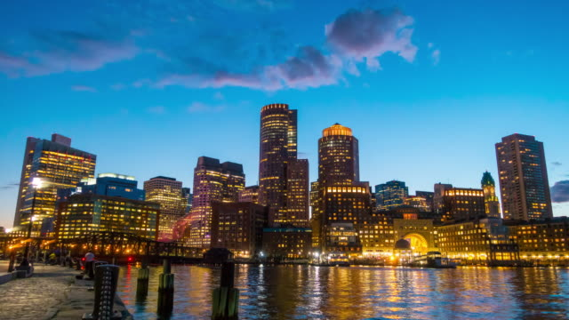 boston harbor and financial district - boston massachusetts stock videos & royalty-free footage