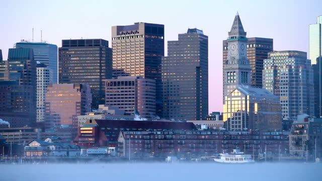 boston harbor arctic sea smoke - boston massachusetts stock videos & royalty-free footage
