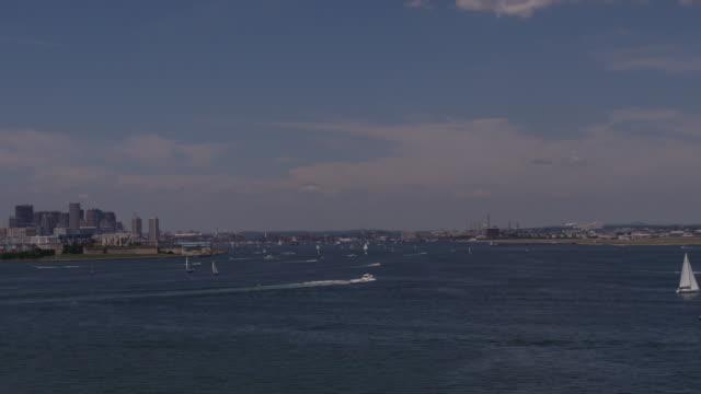 boston harbor time-lapse day, slight zoom in - spoonfilm stock-videos und b-roll-filmmaterial