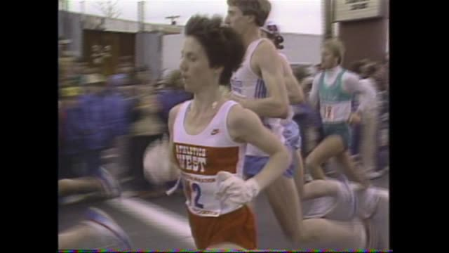 boston marathon joan benoit sets world record greg meyer wins men's race split tracks - salmini stock videos and b-roll footage