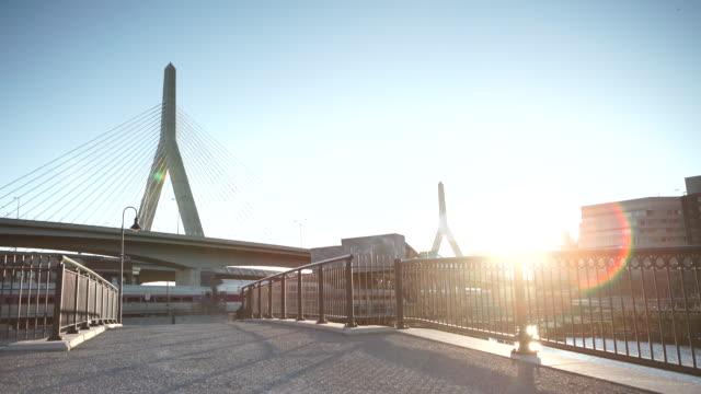 boston memorial bridge with train - boston massachusetts stock videos & royalty-free footage