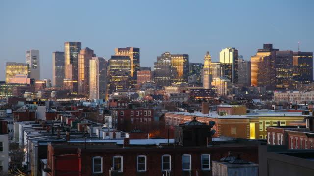 boston night to day timelapse - boston massachusetts stock videos and b-roll footage