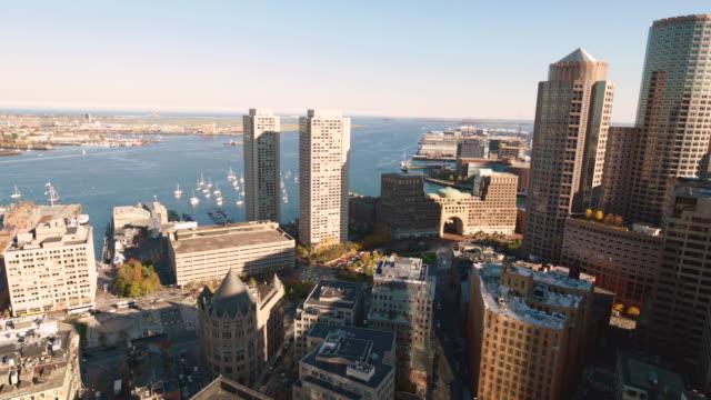 boston office buildings, water in bg - back bay boston stock videos & royalty-free footage