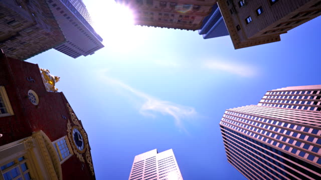 boston. old state house and modern building - boston stock videos and b-roll footage