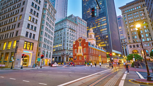 boston old state house - boston massachusetts stock videos & royalty-free footage