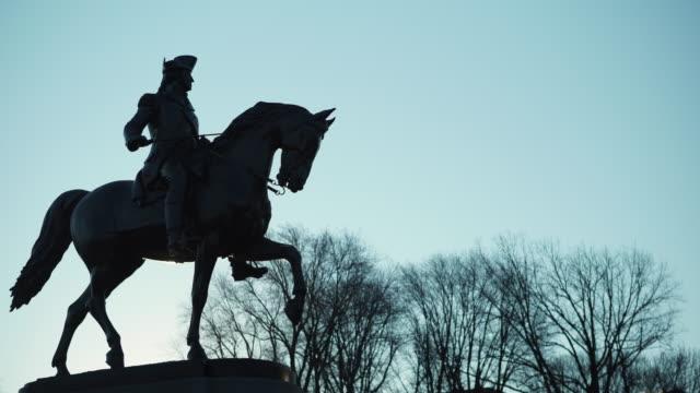 boston public garden statue - george washington stock videos and b-roll footage